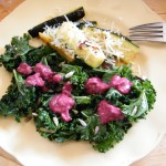 Wilted kale salad  with blackberry dressing (and sautéed zucchini spears with garlic & parmesan).